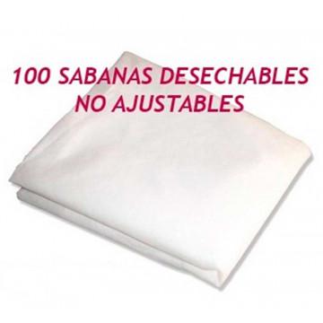 100 Sabanas no ajustables desechables blancas de  185 X 200 cm, 20 grs.