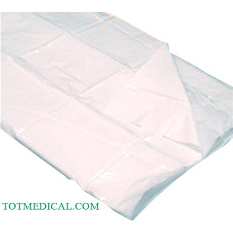 Sabana travesera impermeable de 85 x 140 cm. (PP+PE), plastificada. Blanca.