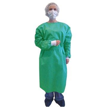 Bata desechable verde con mangas y puños elásticos de 20 grs.