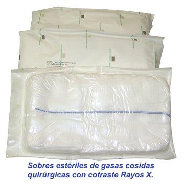 Sobres estériles de 5 compresas quirúrgicas 17 hilos 2 telas 45x45 Pleg.12x22 con contraste radiológico R.X.