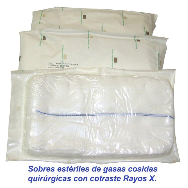 Sobres estériles de 5 compresas quirúrgicas 17 hilos 4 telas 45x45 Pleg.12x22 con contraste radiológico R.X.