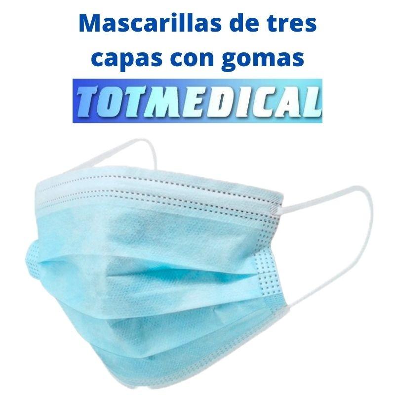 Mascarilla quirúrgicas de tres capas con gomas color azul