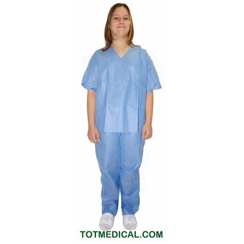 Pijama de SMS azul pantalón y chaqueta talla pequeña