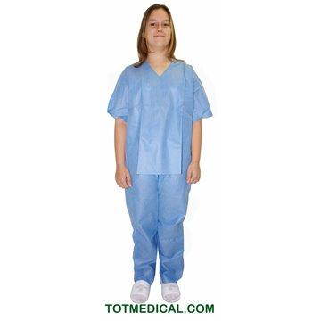 Pijama de SMS azul Pantalón y chaqueta talla grande