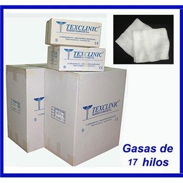 Sobres estériles de 5 compresas quirúrgicas 17 hilos 2 telas 45x45 Pleg.12x22