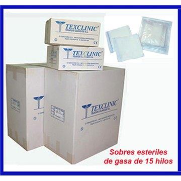 Sobres estériles de 5 compresas quirúrgicas 17 hilos 4 telas 45x45 Pleg.12x22