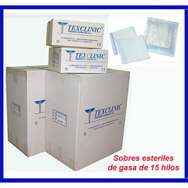 Sobres estériles de 3 compresas quirúrgicas 17 hilos 2 telas 45x45 Pleg.12x22
