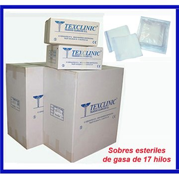 Sobres estériles de 5 Unid. al por mayor de gasa rectilínea de 17-18 hilos 16x25 - 8 capas plegado 7x5
