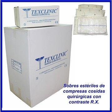 Sobres estériles de 5 compresas quirúrgicas 17 hilos 2 telas 45x45 Pleg.12x22 con contraste R.X.