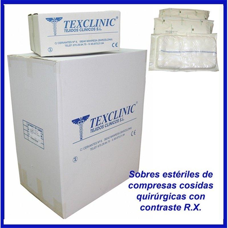 Sobres estériles de 3 compresas quirúrgicas 17 hilos 4 telas 45x45 Pleg.12x22 con contraste R.X.