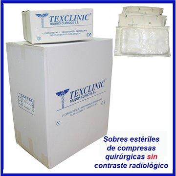 Sobres estériles de 1 compresa quirúrgica 17 hilos 2 telas 45x45 Pleg.12x12