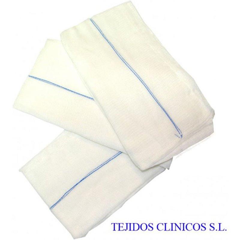 Gasas quirúrgicas cosidas de 4 telas con contraste 45x45 cm.