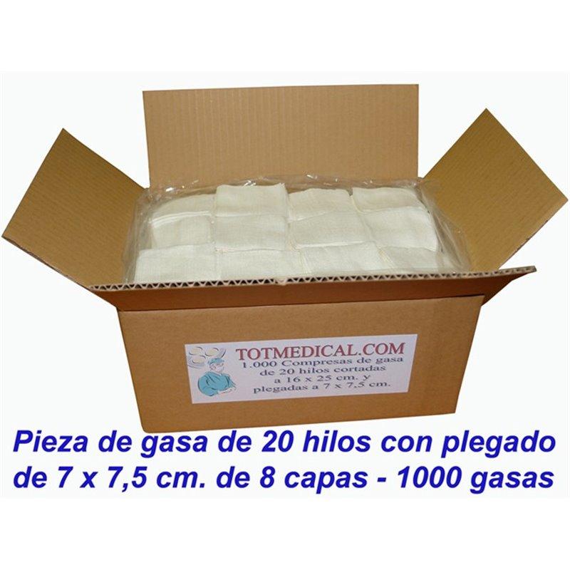 Pieza de gasa rectilinea de 20 hilos 16x25 - 8 capas plegado 7x7,5 cm.