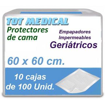 Empapadores para incontinencia impermeables de 60 x 60 cm.