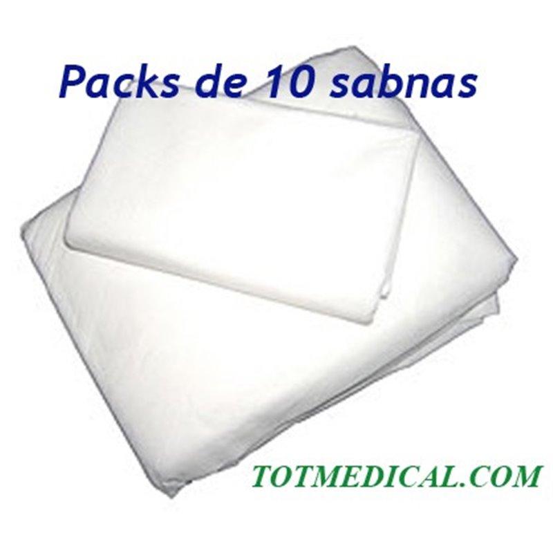 10 Sabanas no ajustables desechables blancas de  150 X 240 cm, 20 grs.