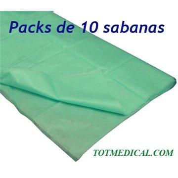 10 Sabanas no ajustables desechables Verde Quirofano de  150 X 240 cm, 20 grs.