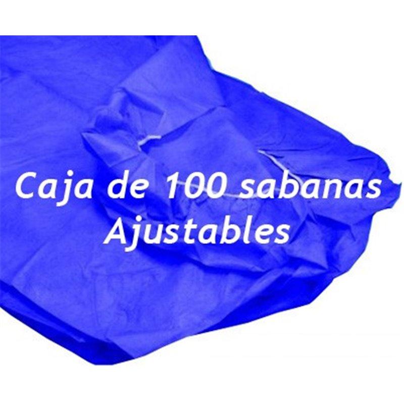 100 Sabanas desechables ajustables Azul oscuro de 95x220 cm. 40 grs.