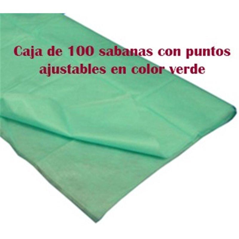 100 Sabanas desechables ajustables verde quirófano de 80x210 cm. 40 grs.