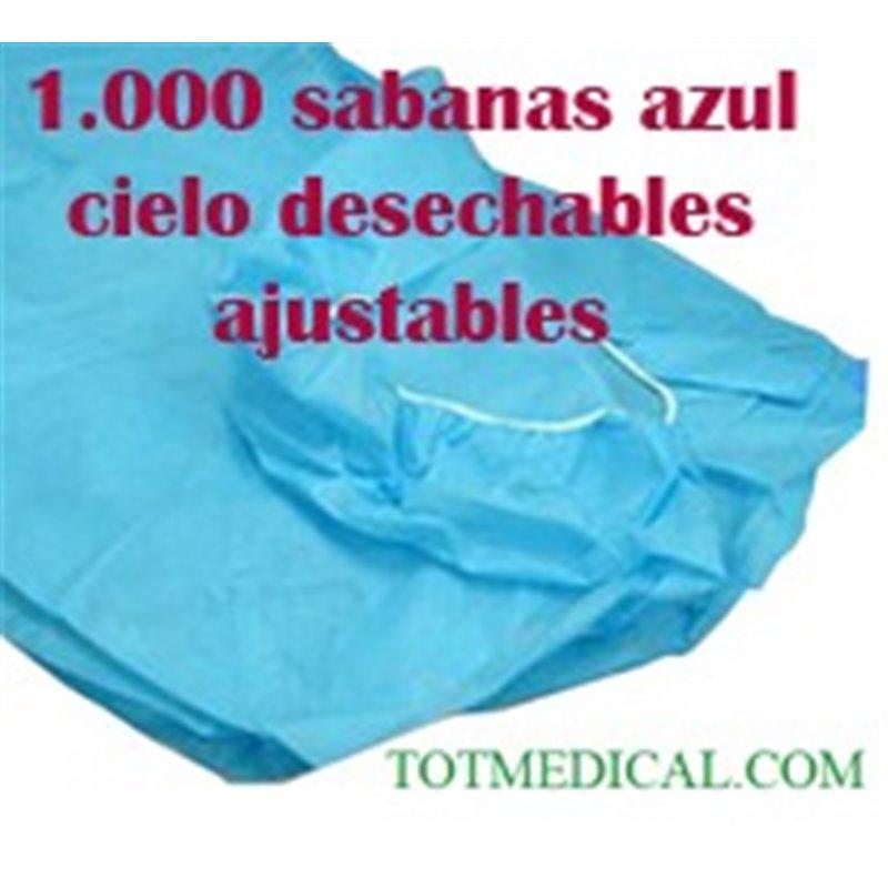 1.000 Sabanas desechables ajustables Azul cielo de 95x220 cm. 40 grs.