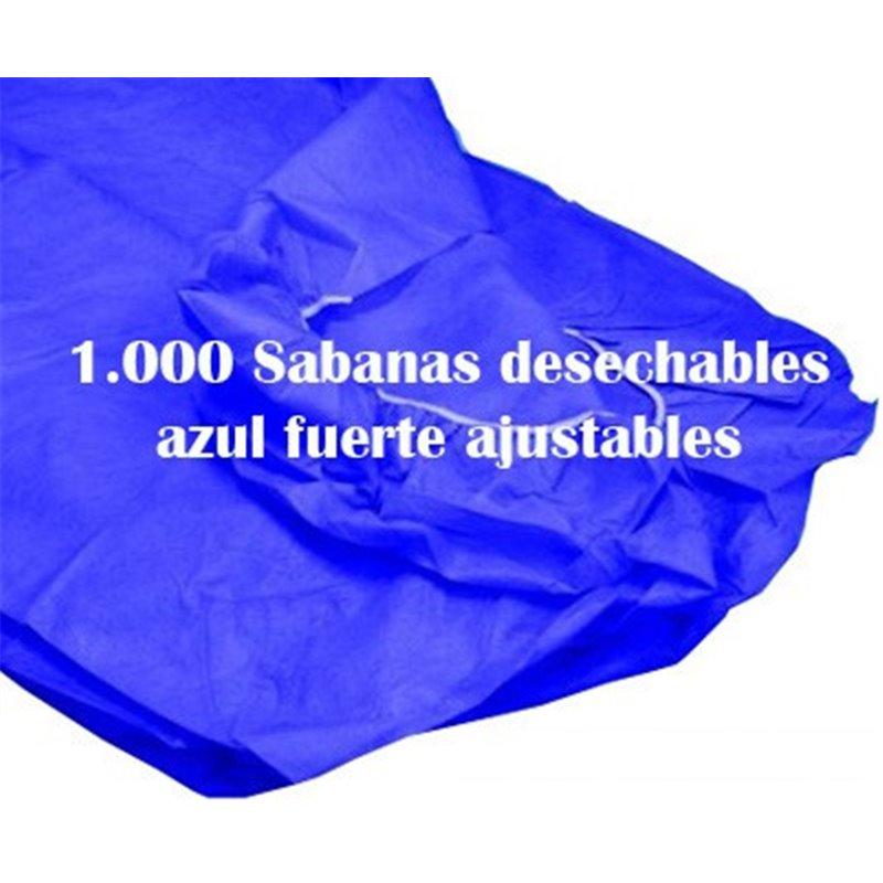 1.000 Sabanas desechables ajustables Azul oscuro de 80x210 cm. 40 grs.