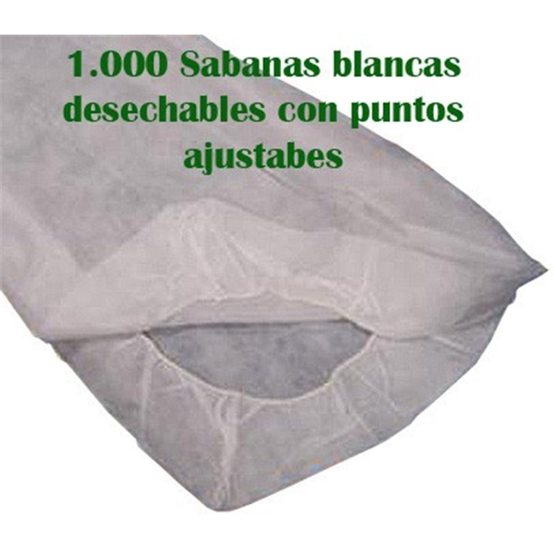 1.000 Sabanas desechables ajustables blancas de 180/135x244 cm. 20 grs.