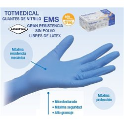 Guantes de Nitrilo EMS de alta resistencia Talla Mediana (M)