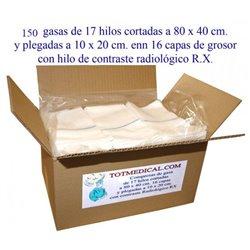 150 gasas en pieza de 17 hilos 80x40 plegado 10x20 cm. - 16 capas con RX