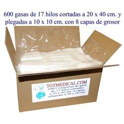 Pieza de 600 gasas de 17 hilos 20x40 plegado 10x10 cm. - 8 capas