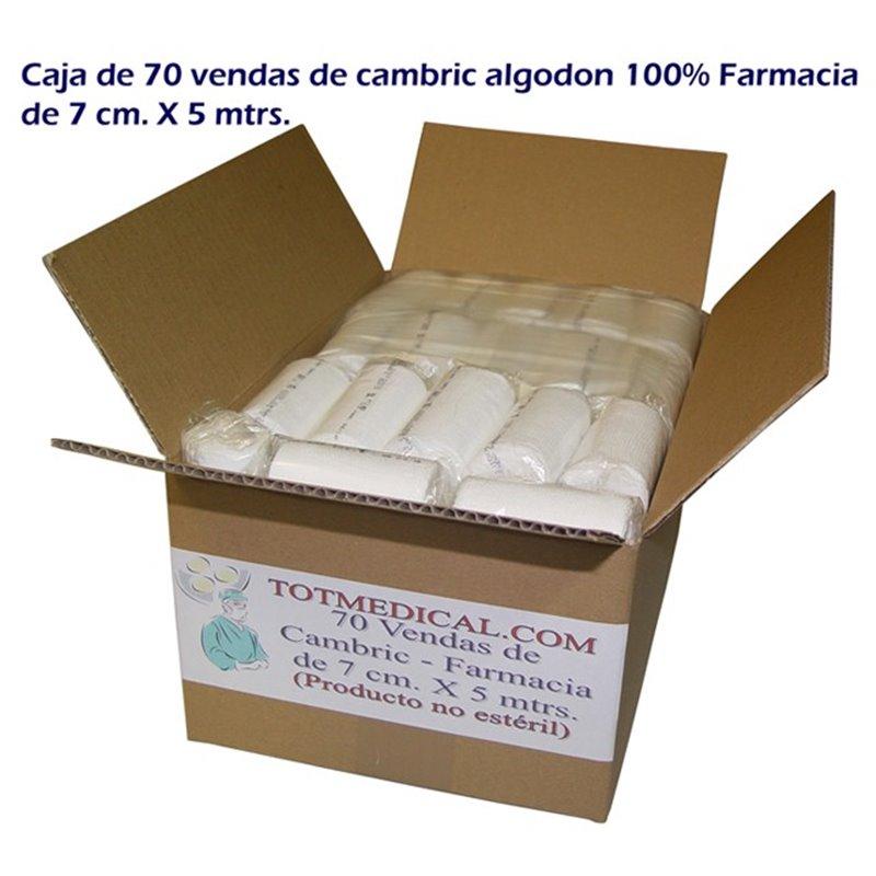 Caja de 70 Vendas de cambric algodon 100% - Farmacia de 7 cm. x 5 mtrs.