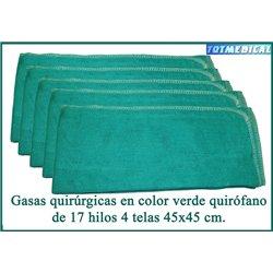Gasas quirúrgicas en color verde quirófano cosidas a 4 telas sin contraste 45x45 cm.