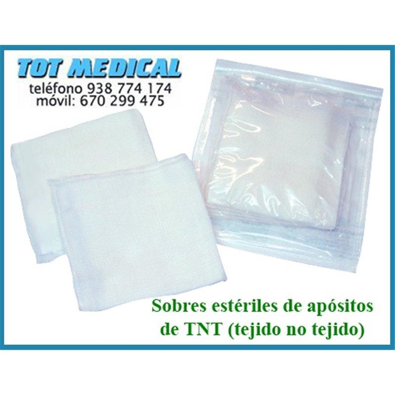 350 Sobres esteriles de 5 apositos de tejido sin tejer de 15 x15 - 4 capas plegado a 7,5 x 7,5 cm.