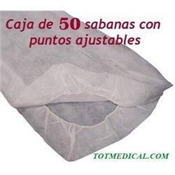50 Sabanas desechables de puntos ajustables blancas de 180x240 cm. 30 grs.
