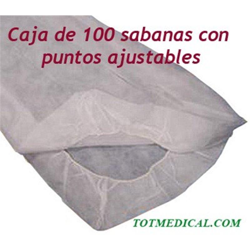 100 Sabanas desechables de puntos ajustables blancas de 125x230 cm. 20 grs.