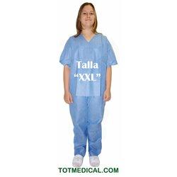 Pijama de SMS azul Pantalon y chaqueta talla extra grande doble XXL
