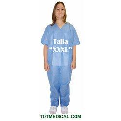 Pijama de SMS azul Pantalon y chaqueta talla extra grande triple XXXL