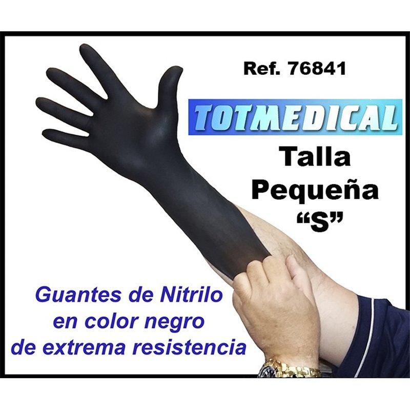 "Guantes de nitrilo negros de alta resistencia talla pequeña ""S"""