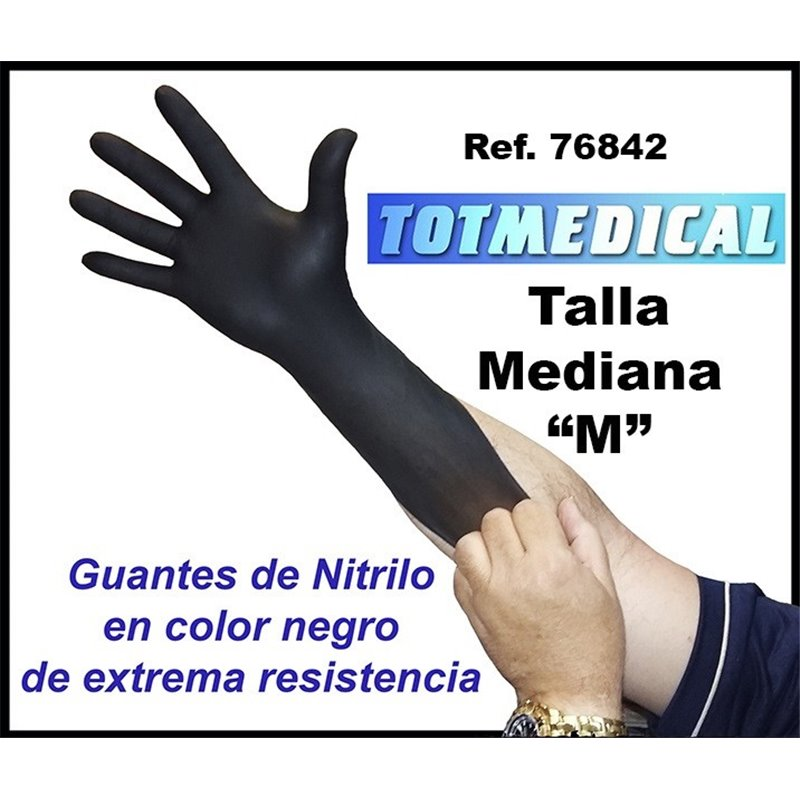 Guantes de nitrilo negros de alta resistencia talla mediana