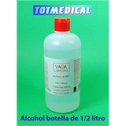 Alcohol etílico medicinal sanitario de 96º en botella de 500 ml.