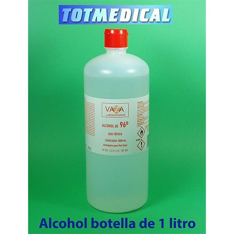 Alcohol etílico medicinal sanitario de 96º en botella de 1.000 ml.