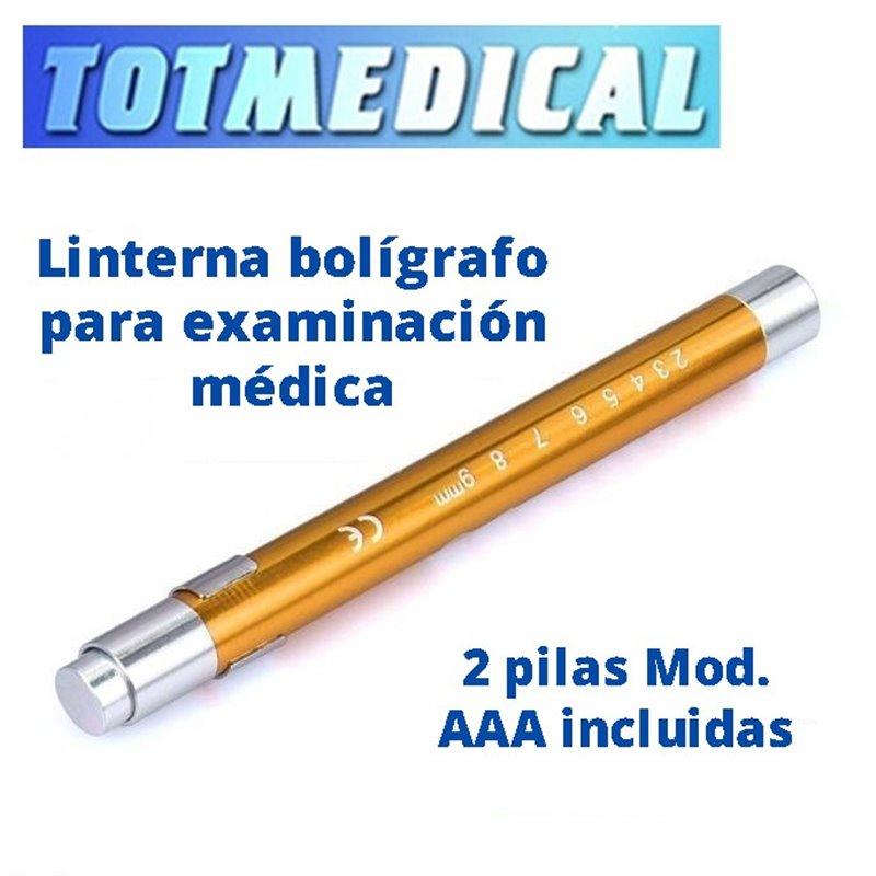 Linterna bolígrafo led para inspección medica en dorado.