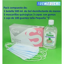 Gel desinfectante + mascarillas quirúrgicas + Guantes de látex